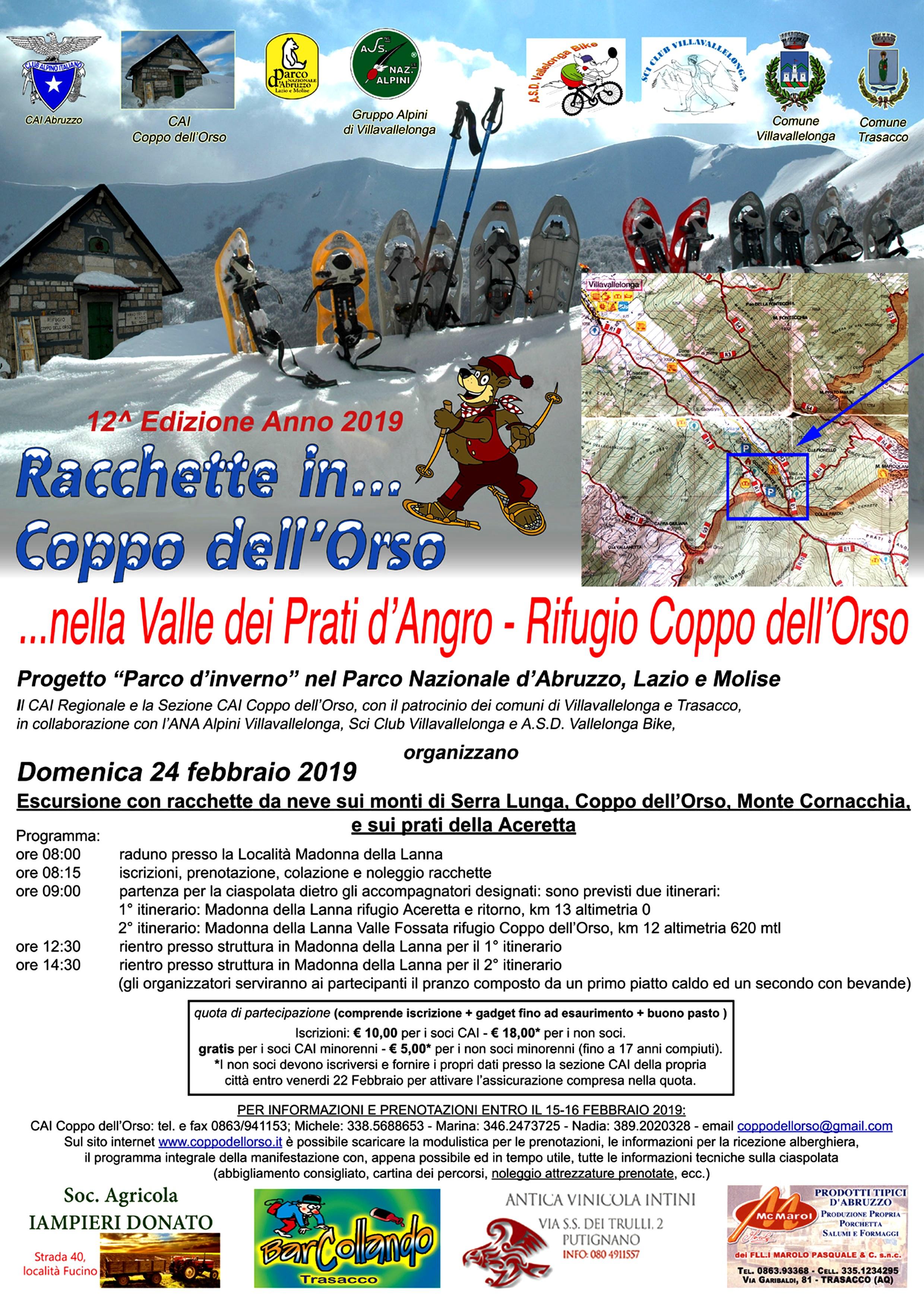 Domenica 24 Febbraio 2019 : 12^ EDIZIONE RACCHETTE IN COPPO DELL'ORSO