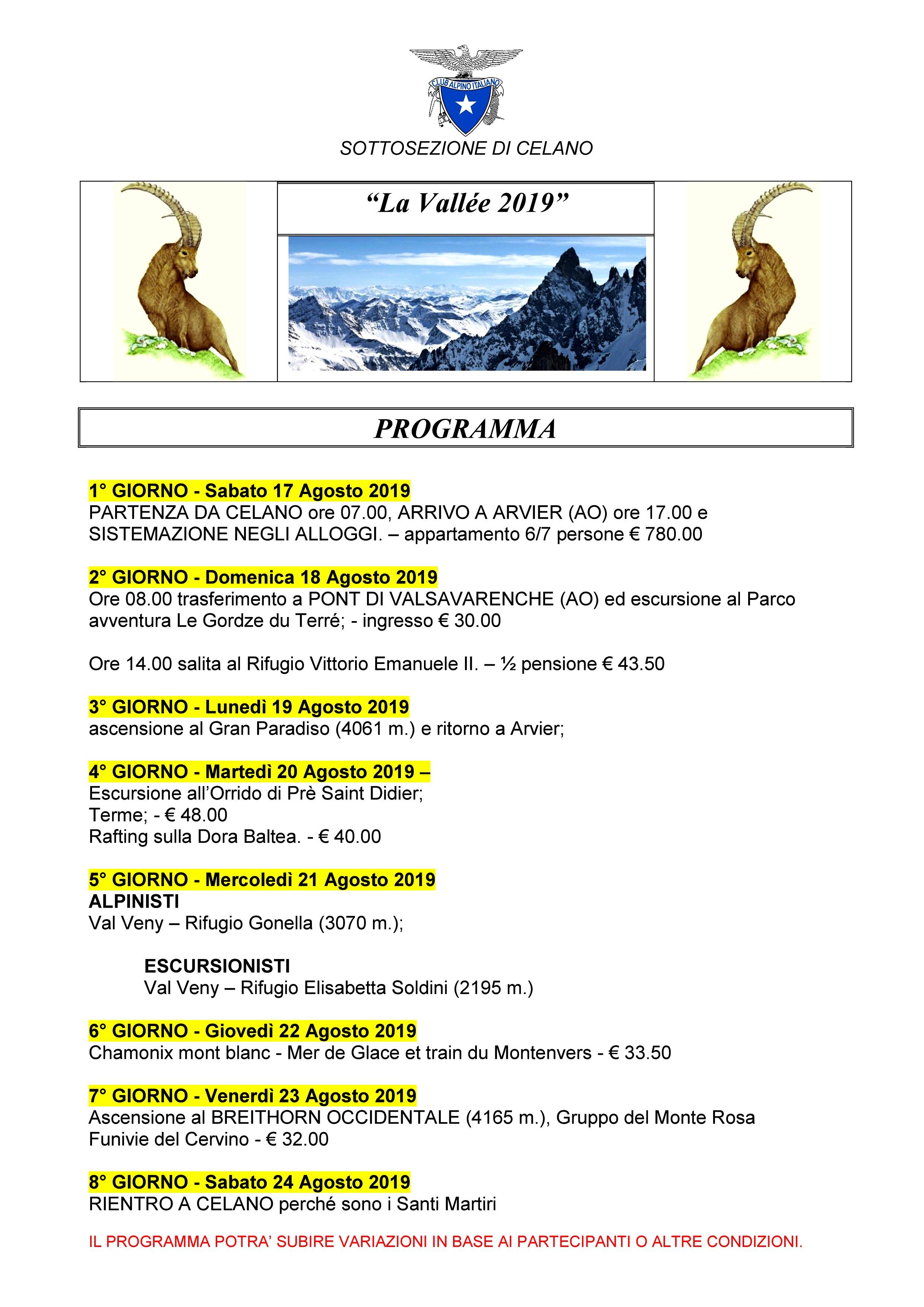 """Agosto 2019 : PROGRAMMA PER """"LA VALLEE 2019"""""""