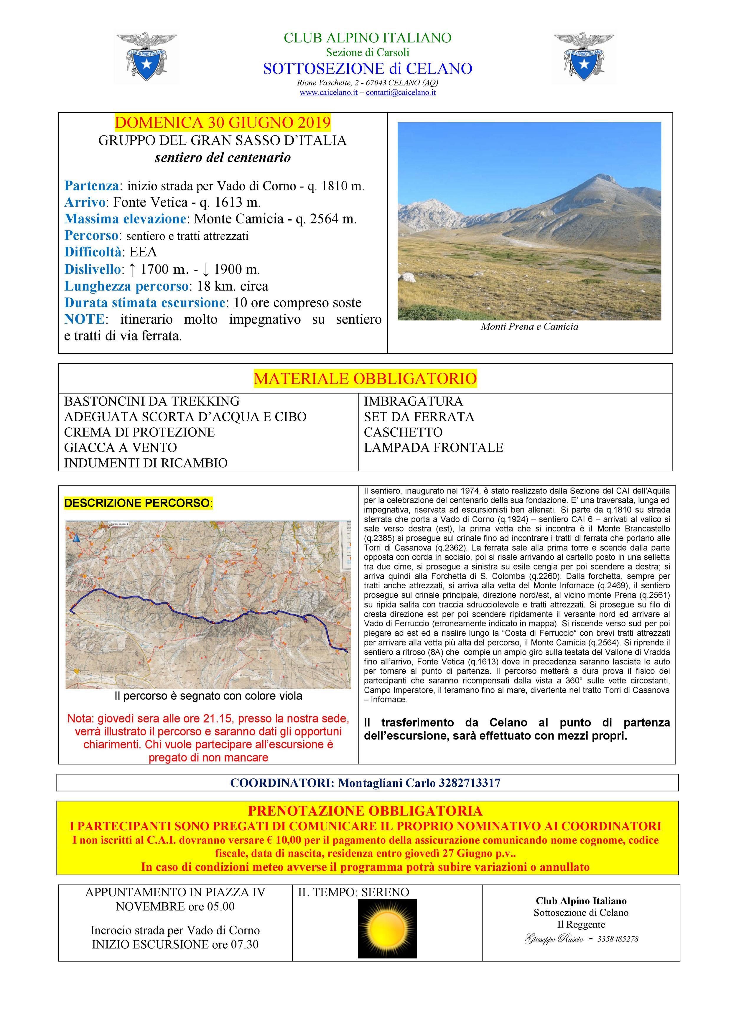 Domenica 30 Giugno 2019 : SENTIERO DEL CENTENARIO