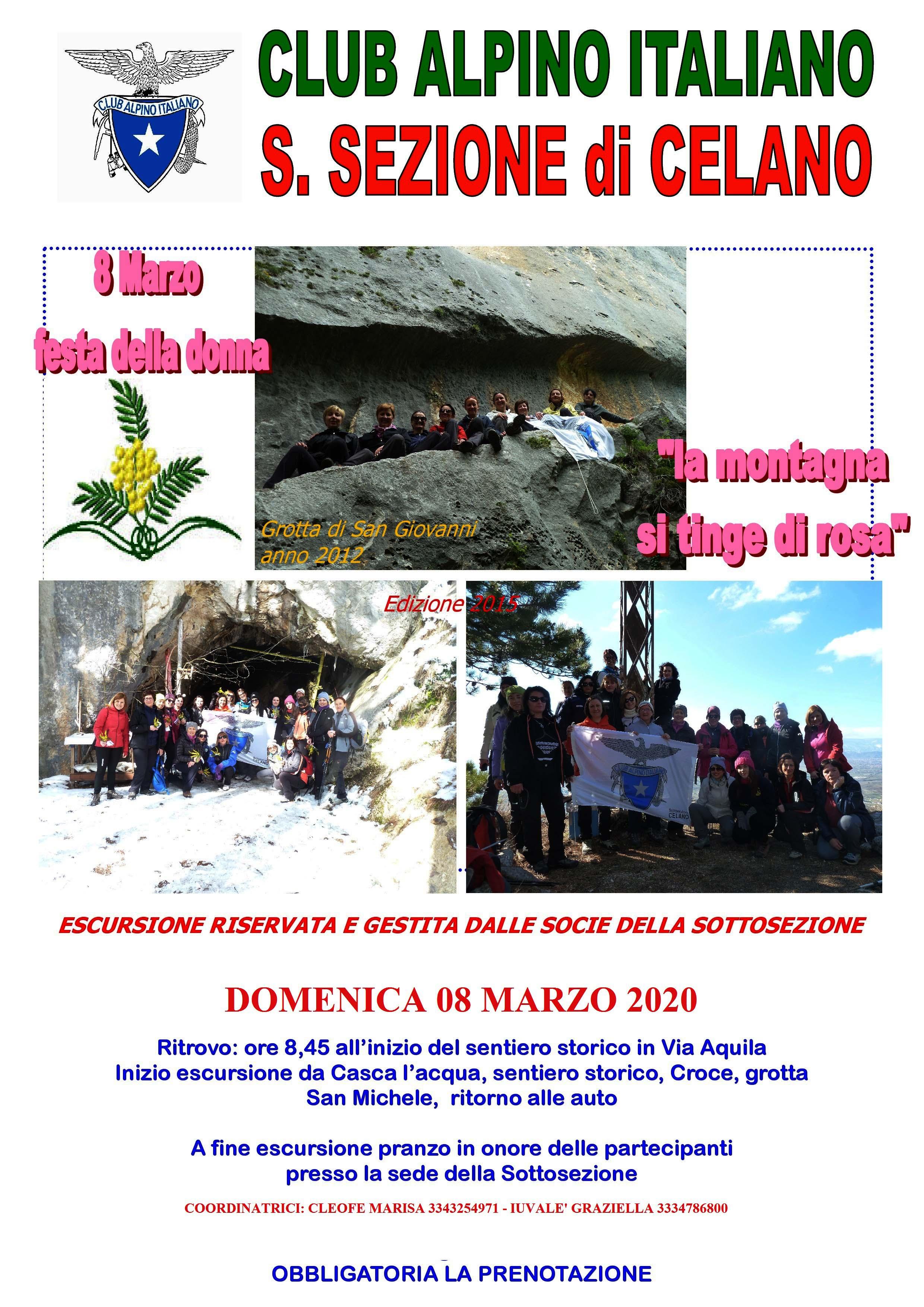 Domenica 8 Marzo 2020 : LA MONTAGNA SI TINGE DI ROSA!